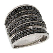 Hsn Colleen Lopez Sterling 2.00ctw Black Diamond Multi-row Ring Size 7 999
