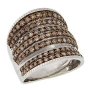 Hsn Colleen Lopez Sterling 2.00ctw Champagne Diamond Multi-row Ring Size 7 999