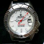 Rockx Sail Master Solid Perpetual Date Automatic Ss White Shell Watch Authentic