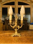 Rococo Candleabra Electric Table Lamp, 19th Century Gilded Bronze
