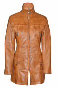 Diana Ladies Casual Style Tan 100 Soft Napa Leather Trench Coat Classic Jacket