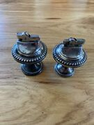 Pair Duchin Sterling Silver Weighted Lighters Antique Need Flint
