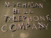 Old Vintage Michigan Bell Telephone Company Building Letters Sign Rare Original