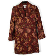 Cabi 749 Jacobean Victorian Tapestry Floral Long Coat Burgundy Lined Size 2