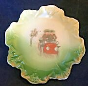 Antique Porcelain Trinket Dish 5 Tray Plate Children Red Car Scalloped C.1920andrsquos