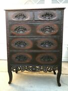 Rare Vintage Detail Hand-carved Chinese Cabinet Drawers 35 1/2 X 18 X 54 T