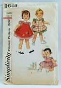 1950s Simplicity Sewing Pattern 3649 Toddler 1-pc Dress And Apron Size 1/2 5402f