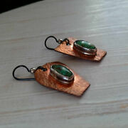 Asymmetrical Copper And Chinese Turquoise Rustic Artisan Earrings Unique Jewelry