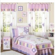 New Sweet Jojo Designs 4p Butterfly Twin Bedding Andshower Curtain Pink Purple Whi