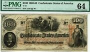 100 Confederate States Of America. T-41. Pmg 64 Choice Uncirculated. 1862.