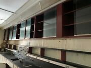 Off Demo Site-maroon Red Overhead Lab Cabinets W/ Glass Sliding Doors And Shelves