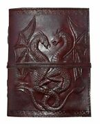 Double Dragon Book Of Shadow Brown Dragon Leather Journal Handmade Embossed Qyt5