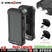 500000mah Solar Power Bank Portable Charger Led External Battery Pack For Phone