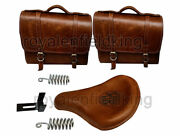 Classic 500 350 Brown Tan Front Leather Seats With Bags Pair For Royal Enfield