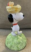 Vintage Peanuts Snoopy And Woodstock Willitts Ceramic Music Box Rare L@@k