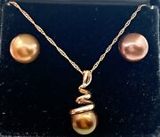 14k Rose Gold Twisting Coil Brown Tahitian Pearl Charm Necklace And Earrings Set