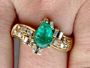 3850 Certified 18k Yellow Gold 1.65 Ctw Pear Shape Emerald And Diamond Ring
