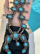 Rare Vintage 1940andrsquos Sterling Silver Squash Blossom Turquoise Native American
