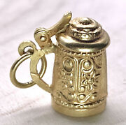 Vintage 14k Solid Yellow Gold 3d Beer Stein Cup Mug Moving Lid Pendant Charm 585