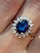 Effy Royalty 14k Solid White Gold 3.65 Ctw Sapphire And Diamond Halo Ring Bh