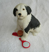 Franklin Mint Black And White Sheep Dog Porcelain Dog Figurine W/ Comb And Mirror