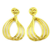 Cc Logos Shaking Earrings Clip-on Gold-tone 96p Authentic 34338