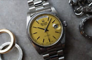 Vintage Bulova Super Seville Automatic Day Date Yellow Dial Duble Mens Watch