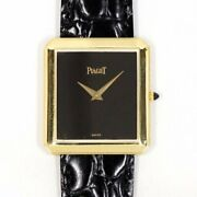 Piaget Hand Winding Black Dial Yellow Gold Leather Menand039s