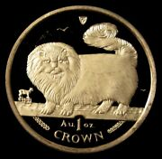 1997 Gold Isle Of Man 1 Oz Long Haired Smoke Cat 1 Crown Coin