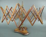 19th C. Antique Adjustable Wood And Brass Table-top Yarn Swift