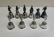 70's The Danbury Mint Bells + Mother's Day Lot Bundle Of 10 Silverplated Antique