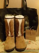 Clever Carriage Co. Springbok And Shearling Yeti Boots Size 7 Handmade And Lovely