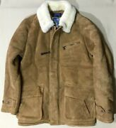 Polo Men's Brown Suede Leather Shearling Carcoat,jacket,sizel,3498
