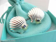 And Co Silver 18k Gold Shell Blue Sapphire Clip On Earrings Rare Gift
