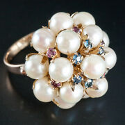 Vintage 1950and039s 14k Yellow Gold Cultured Pearl And Sapphire Statement Ring .48ctw