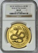 2013 Gold Australia 100 Lunar Year Of Snake 1 Oz Coin Ngc Mint State 69