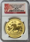 2014 Gold Australia 100 Lunar Year Of Horse 1 Oz Coin Ngc Ms 70 Early Relases