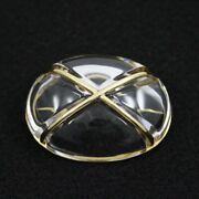 Baccarat Brooch Crystal Glass 750yg Yellow Gold Clear