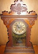 Antique E. Ingraham Co. Gingerbread Parlor Mantel Clock All Original Garnet 1890