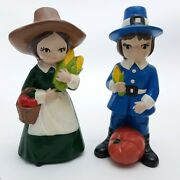Vintage Thanksgiving Pilgrim Couple Figurines With Vegetables