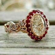 2.00 Ct Oval Cut Diamond And Red Ruby Engagement Vintage Ring 14k Rose Gold Over