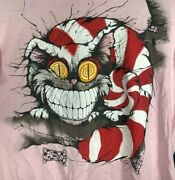 Alice In Wonderland Cheshire Cat Andazia Men's T-shirt Pink Usa Vintage Large