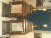Huge Heavy Vintage Dark Wood Stained Glass Table Lamps Very Beautiful
