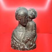 Madonna And Child Sculpture Bust Early 1900's European Heavy Chalkware