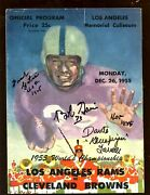 1955 Nfl Championship Program Cleveland Browns At La Rams 3 Autographs Vg+