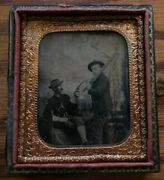 Indian War Calvary Soldier Tintype Stetson, Gauntlet Gloves And Colt 1892 Revolver