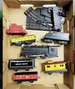 ✅marx Trains Steam Engine Tin Freight Cars Litho Tunnels Switch Caboose Tender