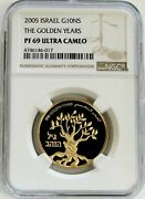 2005 Gold Israel 485 Minted 10 New Sheqalim The Golden Years Coin Ngc Pf 69 Uc