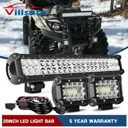 Fit Can-am Outlander 400 500 570 20and039and039 Led Light Bar Mount+2x Cube Pods+wire Kit