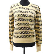 01a 42 Chain Pattern Cc Long Sleeve Knit Tops Beige Black Auth 35548